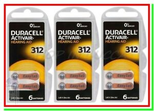 18 DURACELL 312 PR41 ACTIVAIR Batterie Protesi Pile per Apparecchi Acustici