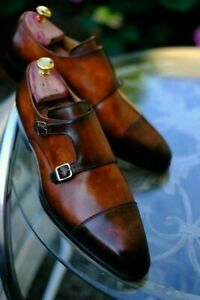 Mens Handmade Shoes Two Monk Strap Brown Leather Formal Dress Oxford Casual Boot