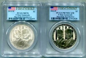 2-PC.PCGS-70 PROOF and BU 2013 * FIVE STAR GENERAL * Commem Dollars First Strike