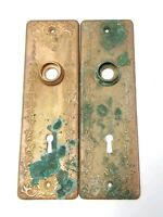 "Pair of Antique Brass Ornate Door Knob Plates 7 1/4"" x 2 1/4"""