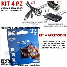 KIT 4 ACCESSORI CARICABATTERIE + MICRO SD 32G PER SAMSUNG GALAXY GRAND NEO i9060