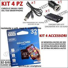 KIT 4 ACCESSORI CARICABATTERIE + MICRO SD 32G PER Samsung Galaxy Ace Plus S7500
