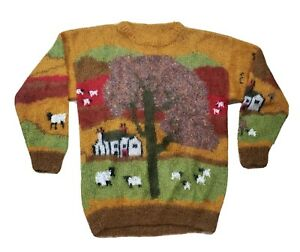 Mohair Alpaca Wool Blend Sweater Pullover Soft Knit Farm Scene Quirky Ugly Men's