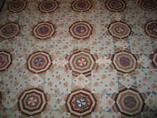 Beautiful Antique Mid 1800s Scrappy String Star-Cobweb Quilt Hand Pieced~Quilted