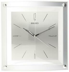 BRAND NEW Seiko Wall Clock Quiet Silver-Tone Metallic Case Glass crystal