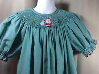 AMANDA REMEMBERED Short Sleeve Smocked Christmas Santa Bishop Dress Girls 6 6X