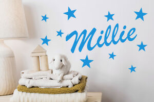Personalised Name Wall Art Sticker with set of Stars Decal Decoration 60cm