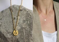 "Delicate Gold Round Disc "" G "" Letter Initial Pendant Necklace 18""L chain Urban"