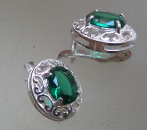 Russian sterling SILVER EARRINGS emerald CREATED  HALLMARKED 925 filigree