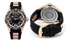 NEW Aquaswiss 80G3H074 Men's Trax 3H Modern Large Rose Gold Rubber Watch
