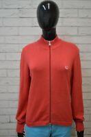 Maglione FRED PERRY Felpa Donna Taglia M Pullover Sweater Cardigan Cotone Rosso