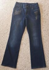 """Embroidered Beaded Casual Corner Jeans Size 4 Stretch Flare 27.75""""W 31""""L GUC"""