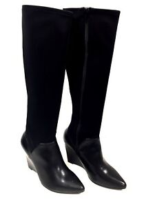 Woman Boots Black Leather Coffee Black Size 39 Fr / 8 US