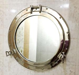 """20"""" Porthole Mirror Chrome ~ Aluminum Porthole ~ Ship Porthole ~ Wall Decor"""