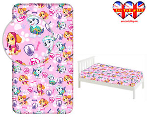 Fitted Sheet Paw Patrol Single Bed%100 Cotton, Official Licensed(200x90x25cm)