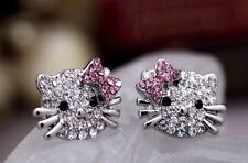 Hello Kitty styled stud earrings Pink and Clear Crystals Silver Toned
