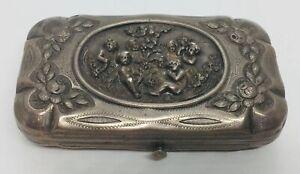 Antique Victorian Sterling Silver Putti Cigarette Case Box