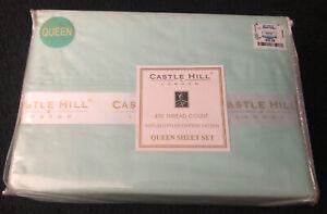 Castle Hill 410 Thread Count Queen Sheet Set Egyptian Cotton NOS Sealed Lt Green