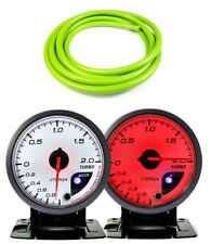 60mm Boost 2 Bar Gauge 60mm WHITE Red Dial With Peak Warning & Green Hose