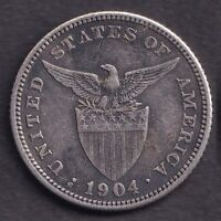 1904-S US Administration Philippines 20 CENTAVOS Silver Coin - Stock #5