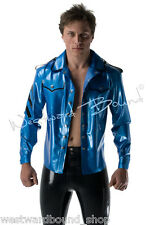 R0681 Classic LATEX RUBBER Mens Button Up SHIRT *PS Blue* LARGE Slight Seconds