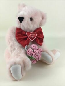 Vermont Teddy Bear Co I Love You w Roses Jointed Plush Stuffed Animal Toy 2011