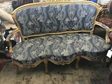 FRENCH LATE 19TH CENTURY LOUIS XV BLUE UPHOLSTERED GOLD PAINTED SALON SOFA