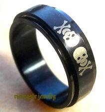 Men Stainless Steel Trendy Skull Cross Bone Fashion Revolving Ring Size 9.5