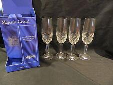 BOHEMIA MAJESTIC BLOWN & CUT FULL LEAD CRYSTAL 4 FLUTES CUT CROSS/DIAMOND