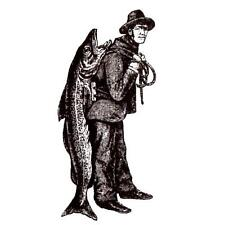 MAN with big FISH unmounted rubber stamp, fishing, masculine #14