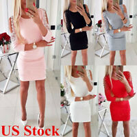 Womens Sexy Bandage Cold Shoulder Bodycon Lace Mini Dress Evening Party Cocktail