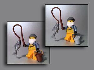 Lego Figuren Minifiguren - Fischer Angler Fisch Angel