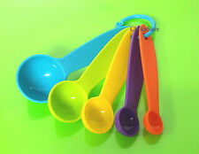 5 Pcs Extra Long Colorful Plastic Measuring Spoons Set Kitchen Tools Tea Spoons