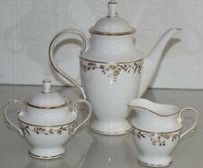 NEW L By Lenox Golden Bough 3 Pc SET Coffee Pot Creamer Sugar Bowl White Floral