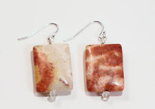 Fossilized Coral Agate Clear Quartz Sterling Silver Dangle French Hook Earrings