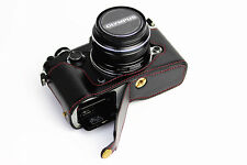 Black Leather Bottom Case Half Cover bag grip For Olympus Pen-F camera ( Pen F)