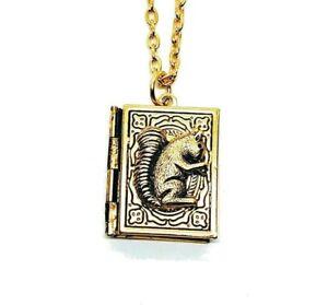 Handmade Golden Squirrel Book Locket Necklace