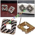 Bijoux Fashion personnalisé boucles d'oreilles noires Zebra Square-cristal