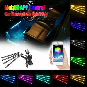 Car Interior Led Footwell Strip Lights USB RGB Atmosphere Lamp APP Control 48LED