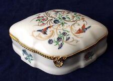 Beautiful Vintage Large Limoges France Castel Trinket Box Birds and Flowers