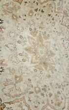 "Bohemian Antique 1930-1940's Muted Ivory Dye Wool Pile Oushak Rug 5'5""×9'7"""