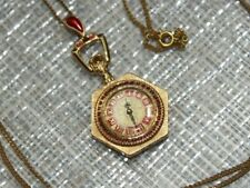 Rare Art Deco Gold Plated SHEFFIELD enamel & ruby jeweled watch pendant necklace