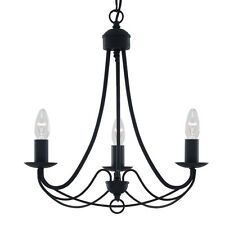 SEARCHLIGHT MAYPOLE 3 LIGHT CLASSICAL MATT BLACK CEILING FITTING CHANDELIER NEW