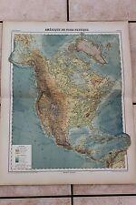 Ancienne carte Atlas universel Géographie 1919 N°59 Amérique du Nord physique