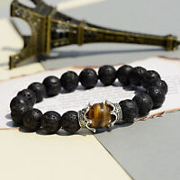 Fashion 10MM Natural Lava Stone Bracelets Crown Beaded Charm Mens Bracelets Gift