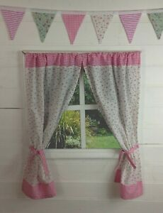 GIRLS PLAYHOUSE CURTAINS ~ WHITE ROSE & PINK GINGHAM ~ WENDY/SUMMER HOUSE