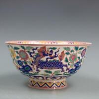 Collection Chinese jingdezhen Porcelain Famille Rose Unicorn Kylin Flower Bowl