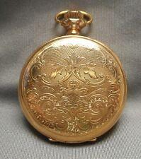 Gold Of Case 504742 Embossed Back Antique Pocket Watch - Waltham 19457284 14K