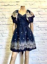 Defenon Stunning Navy Tulle Appliqued Floral Cocktail Dress UK 8