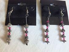 Beautiful Handcrafted Swavorski Crystal Dangle Earrings 2 Pair Silver Rose WOW